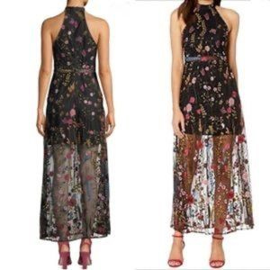 BETSEY JOHNSON Black Floral Embroidered Dress sz 6